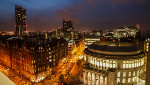 Night view of Manchester Central Library